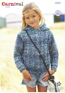 Cable Sweater and Hoodie in Stylecraft Carnival - 9084