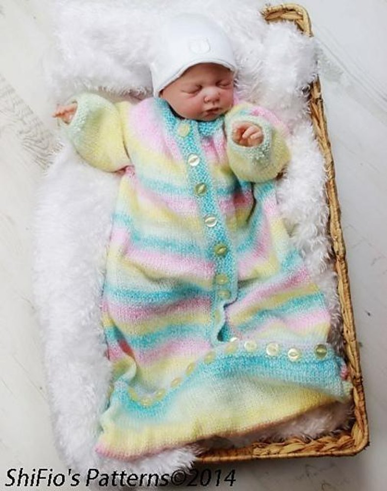 Knitting Pattern Sleeping Bag Baby : 207- Plain Baby Sleeping Bag Knitting Pattern #207 ...