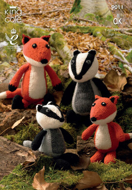 Fox and Badger Toys in King Cole Merino Blend DK - 9011