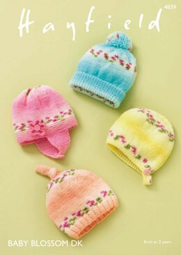 Baby Hats in Hayfield Baby Blossom DK - 4839 - Downloadable PDF