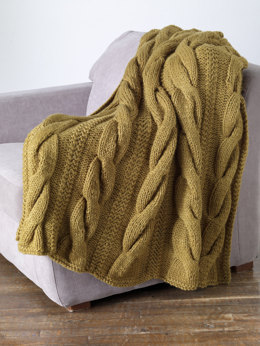 Classic Cable Throw in Lion Brand Wool-Ease Thick & Quick - 80882AD