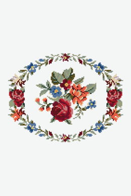 Floral Wreath  in DMC - PAT0094 -  Downloadable PDF