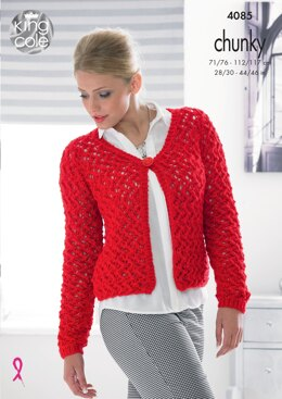 Cardigan and Sweater in King Cole Chunky - 4085