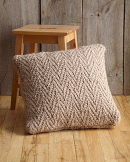 Herringbone Stitch Pillow in Lion Brand Wool-Ease Thick & Quick - L0133AD