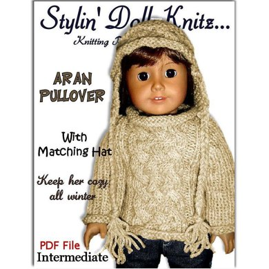 Fits American Girl Doll, Aran Pullover with matching hat.