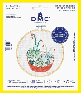 "DMC Succulents (with 6"" hoop) Cross Stitch Kit - 25cm x 25cm"