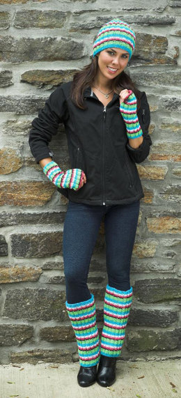 Ribbed Hat, Leggings, & Fingerless Gloves in Plymouth Encore Worsted - F166