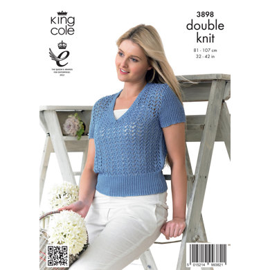 Ladies' Cropped Top in King Cole Giza Cotton DK - 3898
