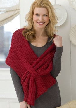 Ribbed Slit Shawl in Red Heart Soft Solids - LW2590
