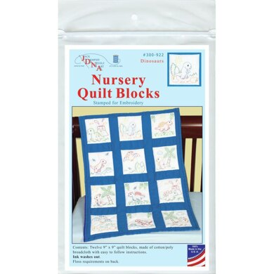 Jack Dempsey Stamped White Nursery Quilt Blocks 12Pkg - Dinosaurs - 9in x 9in