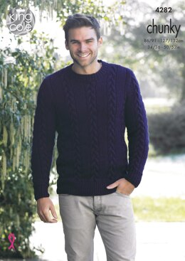 Mens Sweater & Slipover in King Cole New Magnum Chunky - 4282 - Downloadable PDF
