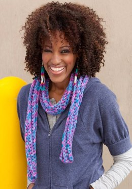 Colorful Corded Scarf in Red Heart Super Saver Economy Prints - LW2623