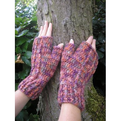 Heather fingerless mitts