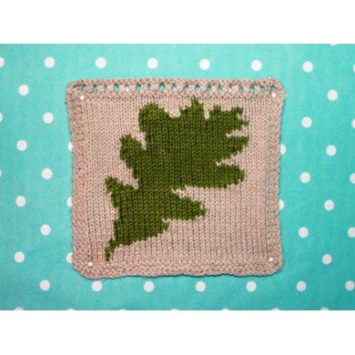 Oak Leaf Intarsia Square Knitting pattern by Ruby and the Foxes