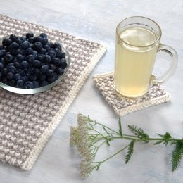 Interlaced Row Placemat and Coaster Set