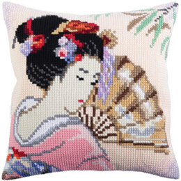 Collection D'Art Beautiful Japanese Lady Cross Stitch Cushion Kit