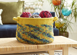 Dip Edge Striped Crochet Basket in Bernat Blanket - Downloadable PDF