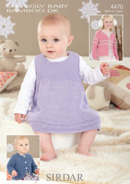 Pinafore and Cardigans in Sirdar Snuggly Baby Bamboo DK - 4470