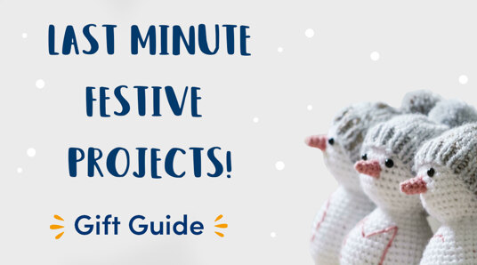 gift guide title and crochet snowmen
