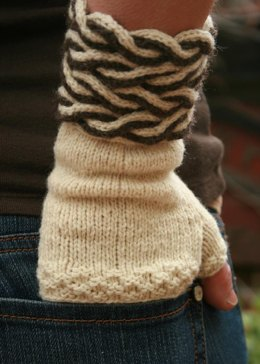 Dual Cable Fingerless Mitts