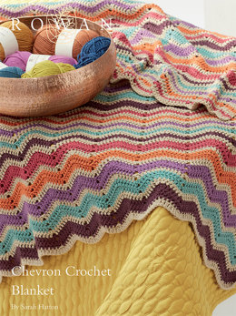 Chevron Crochet Blanket in Rowan Handknit Cotton