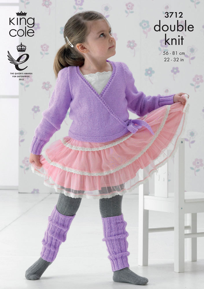 Leg Warmers Knitting Pattern 8 Ply : Ballet Cardigan and Leg Warmers in King Cole DK - 3712
