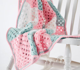 Springtime Squares Crochet Baby Blanket in Caron One Pound - Downloadable PDF
