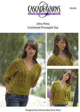 Crocheted Pineapple Top in Cascade Ultra Pima - DK246