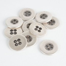 Ring Edge Metal Buttons - Silver