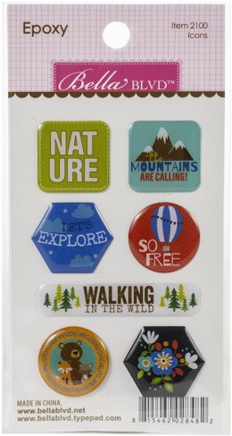 Doodlebug Let's Go On An Adventure Epoxy Stickers - Icons