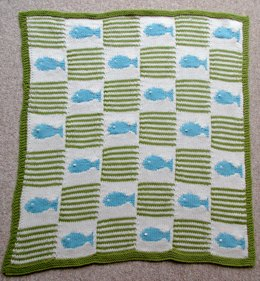 Fish and Stripes Cot Balnket