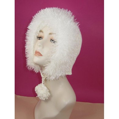 Faux Fur Trim Garter Stitch Bonnet Hat