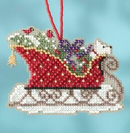 Mill Hill Evergreen Sleigh Ornament Cross Stitch Kit - 3.5in  x 2.5in