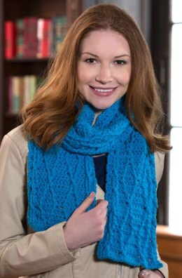 Cable Warm Wishes Scarf in Red Heart With Love Solids - LW4283