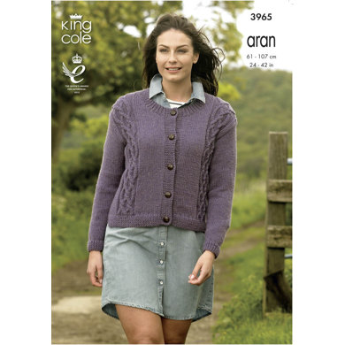 Cable Front Cardigans in King Cole Fashion Aran - 3965