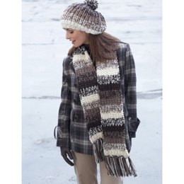 Shaded Stripes Hat & Scarf in Patons Shetland Chunky