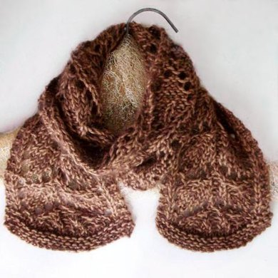 Frosted Fall Leaves Knit lace Scarf