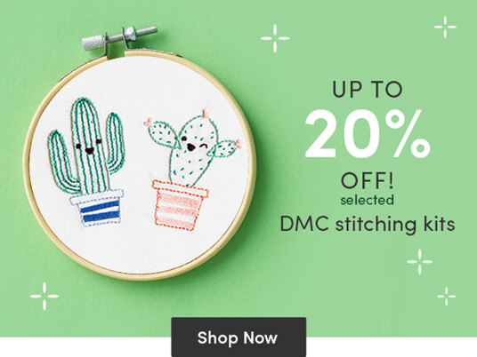 Up to 20 percent off selected DMC stitching kits!
