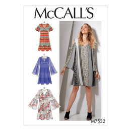 McCall's Misses' V-Neck, Flared-Sleeve Dresses M7532 - Sewing Pattern