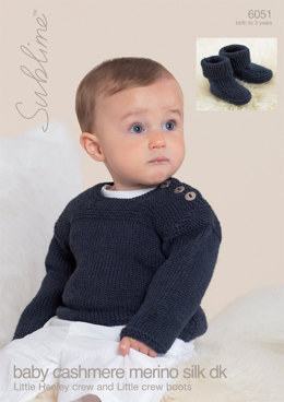 Little Henley Crew Sweater and Little Crew Boots in Sublime Baby Cashmere Merino Silk DK - 6051 - Downloadable PDF