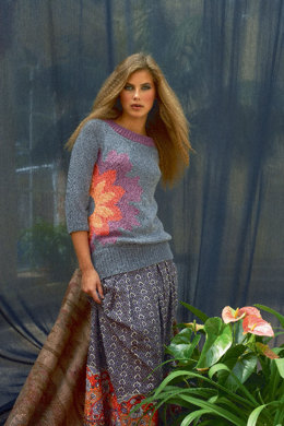 Raglan Sweater with Flower in Schachenmayr Sun City - 6636 - Downloadable PDF