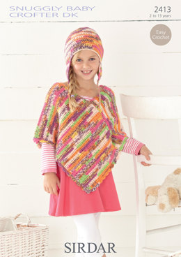 Poncho and Helmet in Sirdar Snuggly Baby Crofter DK - 2413 - Downloadable PDF