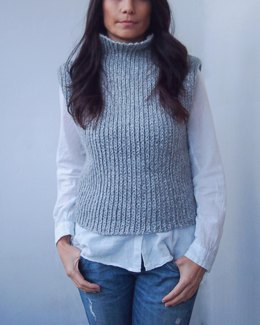 Knit look ribbed sweater