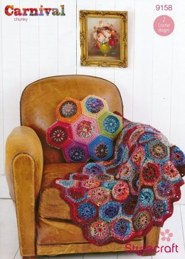 Hexagon Throw and Cushion in Stylecraft Carnival and Special Aran - 9158