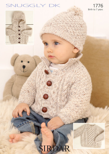 Knitting Pattern Baby Boy Jumper : Sweater, Jackets and Hat in Sirdar Snuggly DK - 1776 - Downloadable PDF