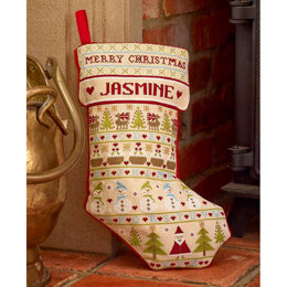 Historical Sampler Company Snowman Christmas Stocking Cross Stitch Kit