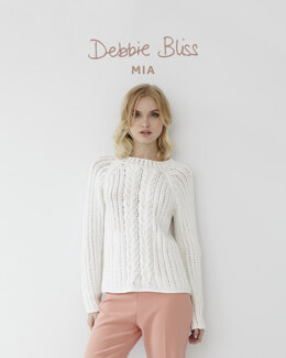 """Cable Eyelet Jumper"" - Jumper Knitting Pattern For Women in Debbie Bliss Mia"