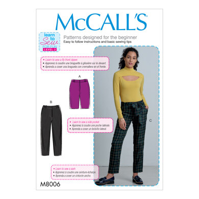 McCall's Misses' Shorts, Pants and Sash M8006 - Sewing Pattern
