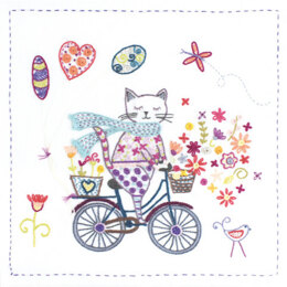 Un Chat Dans L'Aiguille Life Is Good on a Bicycle Embroidery Kit