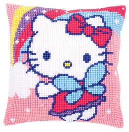 Vervaco Hello Kitty and Rainbow Cushion Front Chunky Cross Stitch Kit
